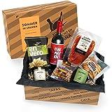 Präsentkorb SOMMER IN SPANIEN I Geschenkkorb gefüllt mit Sangria & spanischen Delikatessen I 7-teiliges Geschenkset ideal für Frauen & Männer