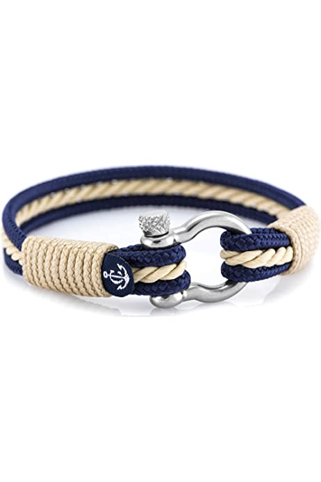 EXINOX Pulsera Nautica Hombre Y Mujer | Cuerda Nautica Acero Inoxidable (Azul Claro, Rojo y Blanco): Amazon.es: Joyería