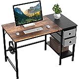 HOMIDEC Bureau d'ordinateur,Table de Bureau avec tiroirs Bureau d'écriture d'étude pour la Maison avec étagères de Rangement,