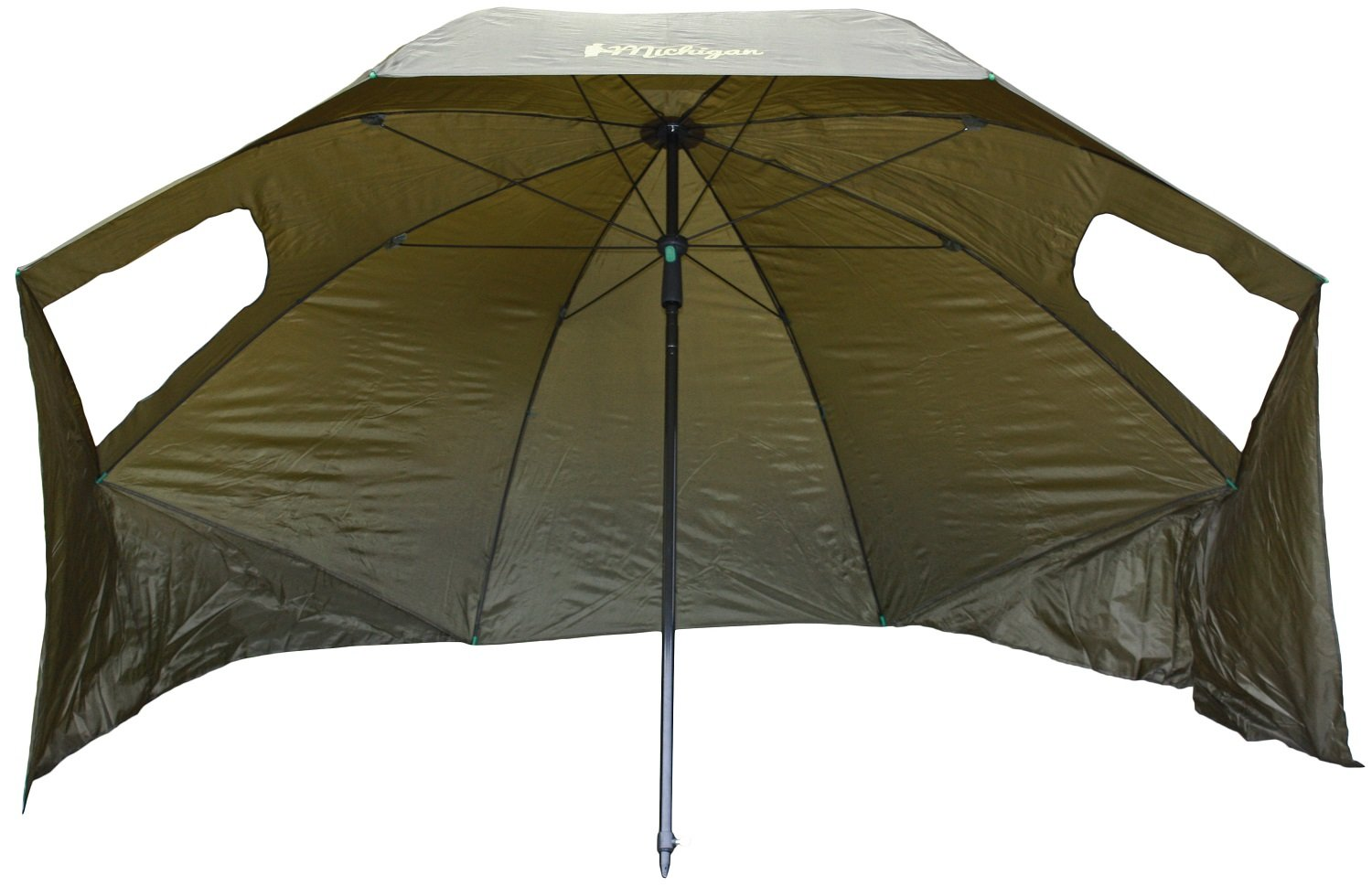 """Michigan Fishing Umbrella Shelter with Top Tilt Tent/Brolly/Bivvy with FREE Carry Bag, Olive Green, 75"""" or 86"""" 2"""