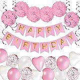 Födelsedagsdekoration för tjejer | Födelsedagsbanderoll, Girlanger, Pompoms i papper | Rosa festdekorationer | Kalasdekoratio