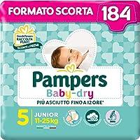Pampers Baby Dry Junior, 184 Pannolini, Taglia 5 (11-25 kg)