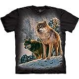 The Mountain unisex-adult Wolf Couple Sunset T-Shirt