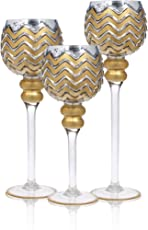 Palais Glassware Elegant Bougeoir Collection, Set of 3 Hurricane Candle Holders (Silver Gold Chevron)