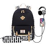 Zaino Scuola Ragazza Adolescente, Zaino Donna Travistar Con Astuccio, Porta USB e Jack per Cuffie, per Laptop da 14 Pollici (