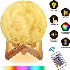 Lampada Luna 3D Moon Lampada 15cm Luce Dimmerabile 16 Colori 10 Livelli Luminosità Modalità Controllo Remoto Ricaricabile per Decorazione Regalo Yissvic