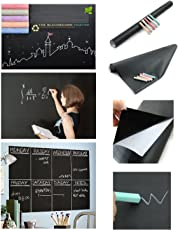 HOUSE OF QUIRK Black Board Vinyl Wall Sticker Removable Decal Chalkboard (45 X 200 Cm)