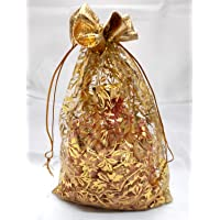 3A Featuretail 10 Inch x 7 Inch Net Fabric Drawstring Pouch for Dry Fruits Packing, Organza Shagun Potli, Golden Print…