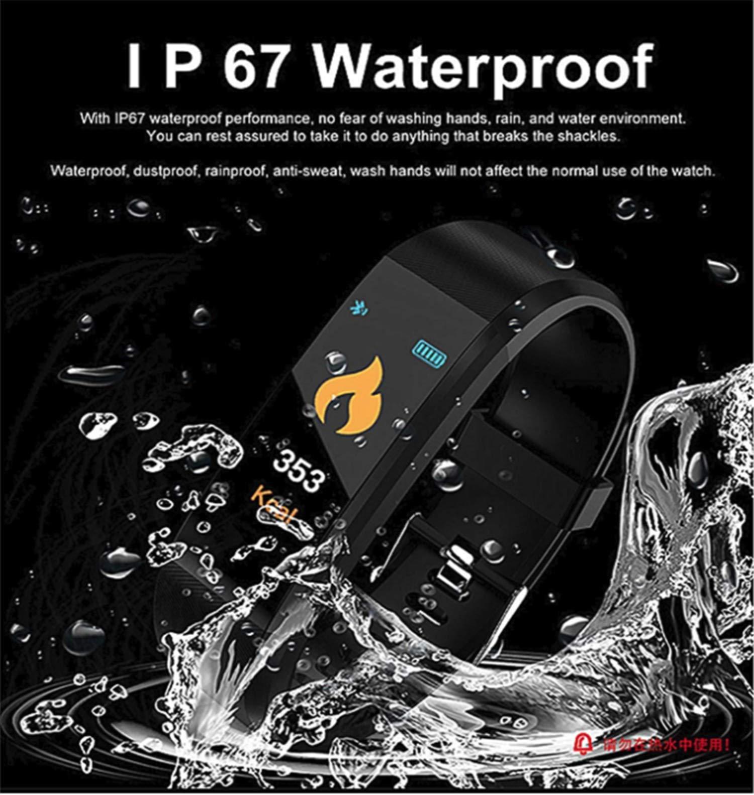 Pulsera Actividad,Impermeable IP67 Pulsera Inteligente con Pulsómetro, Reloj Inteligente para Deporte, Podómetro, Pulsera Deporte para Android y iOS Teléfono móvil para Hombres Mujeres Niños 5