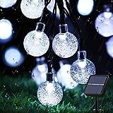 Augone Solar Garden Lights Waterproof, 50LED 7M/24Ft Solar String Lights Outdoor, 8 Modes Globe Fairy Lights for Indoor/Outdo