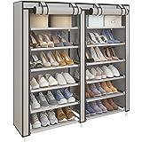 UDEAR Meubles à Chaussures avec Housse en Toile 7 Couches étagère Chaussures avec Zip Gris