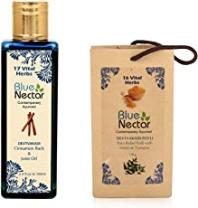 Blue Nectar Ayurvedic Pain Relief Oil for Body, Back, Knee and Legs, 100ml & Ayurvedic Herbal Pain Relief Compress Potli With Neem & Turmeric - 175Gm Combo
