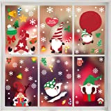 VEYLIN Christmas Gnome Window Stickers, 6 Sheets Reusable Xmas Scandinavian Window Clings Decals for Home Office Decoration