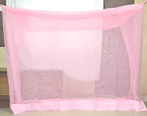 Indian Pink Mosquito Net for Single Bed Cotton - Size: Indian Pink 3X6.5 Ft - for, Baby, Belts, Family - Mosquito Protection Net for Babyd, Room