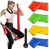 Alviller Bandas Elasticas Fitness 4 Piezas|200 x 15 cm, Resistencia Bandas de Ejercicios Cintas Elastica de Resistencia con N