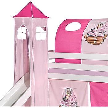 Lila//Wei/ß, Einhorn XXL Discount Turm-Vorhang 100/% Baumwolle f/ür Hochbett Spielbett Stockbett Kinderbett Kinderzimmer Spielturm mit Turmgestell
