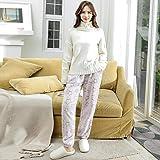 YHSM Pantaloni da Notte in Flanella Calda Spessa Invernale da Donna Pantaloni in Pile di Corallo Plus Size Pantaloni Termici