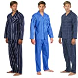 Cargo Bay Mens 100% Cotton Pyjama Set Matching Flannel Printed Comfy Button Up