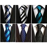 Vellede Lot 6 PCS Cravate de Costume Homme à Rayure Classique Imprimé Floral Couleurs