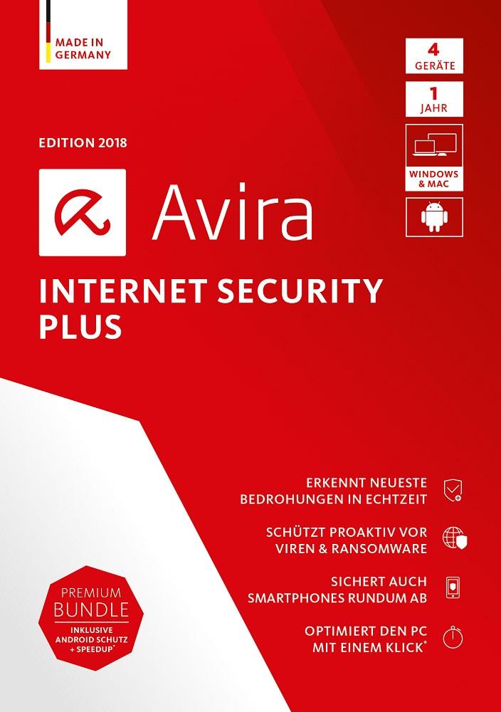 Avira Internet Security Plus Edition 2018 / Sicheres Virenschutzprogramm inkl. Avira System Speedup (Jahres-Abonnement) für 4 Geräte / Download für Windows (7, 8, 8.1, 10), Mac & Android [Online Code]
