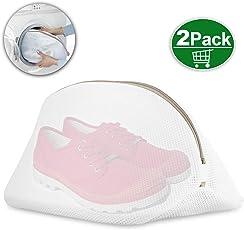 wäschenetz schuhe,Wäschenetz für Waschmaschine Multi Schutz Wäschenetz Wäschebeutel mit haltbarem Reißverschluss(2 Stück,Weiß)