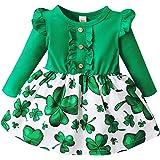 puseky Vestido de niña verde de cuatro hojas-trébol bebé niña vestido de manga larga