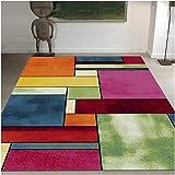 UN AMOUR DE TAPIS 80x150 Tapis Salon Moderne Design Géométrique Poils Ras - Petit Tapis Salon Rectangulaire - Tapis Chambre T
