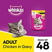 Whiskas Adult (+1 year) Wet Cat Food, Chicken in Gravy Monthly Pack, 48 Pouches (48 x 85g)