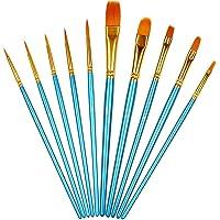 XYGK 10 Pièces de Pinceaux (Ensemble), Brosse à Cheveux en Nylon pour Peinture Acrylique, Peinture à l'huile, Peinture à…