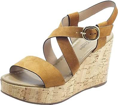 Sandalo da Donna NeroGiardini in Pelle Tabacco o Castoro E012410D. Scarpa dal Design Raffinato. Collezione Primavera Estate 2020