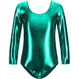 Body da danza, da donna, a maniche lunghe, con scollo rotondo, effetto satinato 4Años Verde