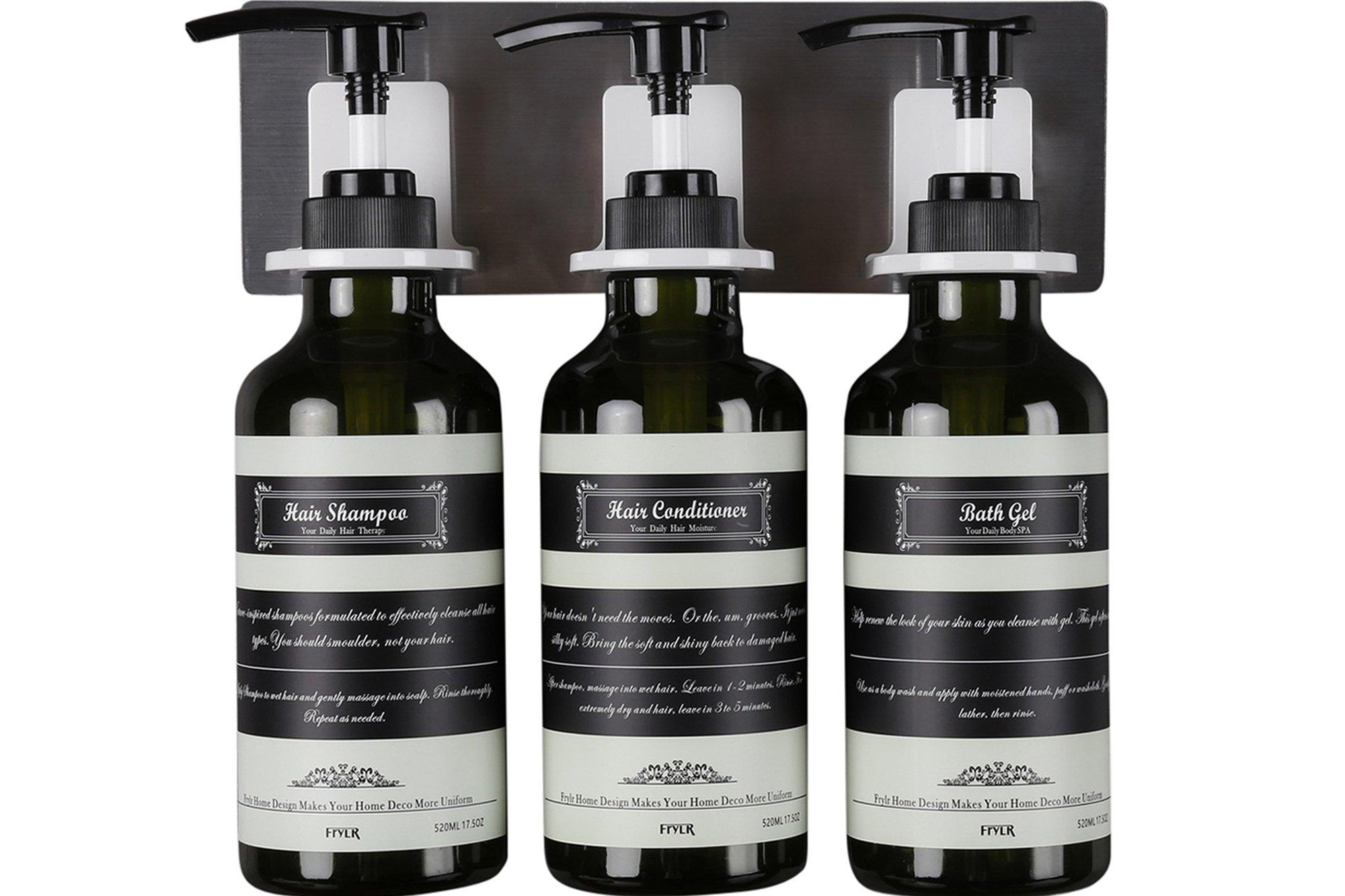 Frylr dispenser sapone bagno a muro con 3 recipienti in plastica