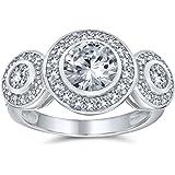 Bling Jewelry Stile Art Deco Argento 925 Passato Presente Futuro Cubic Zirconia AAA CZ 3 La Pietra Halo Circlet Anello di Fid