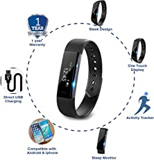 Cardio Max JSB HF110 Fitness Band Watch for iPhone and Android (Black)