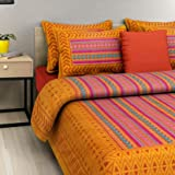 Shilpi Impex MSKS Cotton Bedsheets for Double Bed with 2 Pillow Covers (Light Orange)