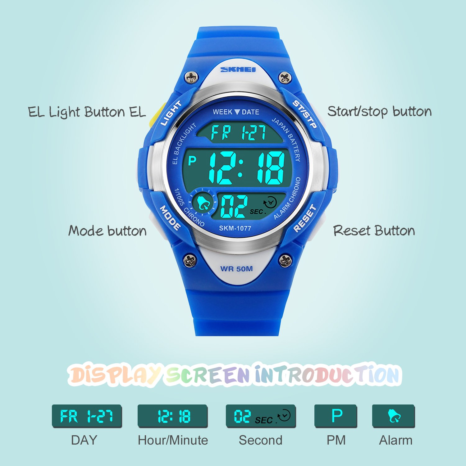 Boys Digital Sport Watch, Kids Outdoor Waterproof Electronic