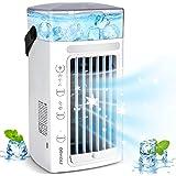 Bärbar luftkylare, 4-i-1, personlig, mini, mobil luftkonditioneringsfläkt med 7 färgers LED-ljus, 2 spraylägen, 3 vindhastigh