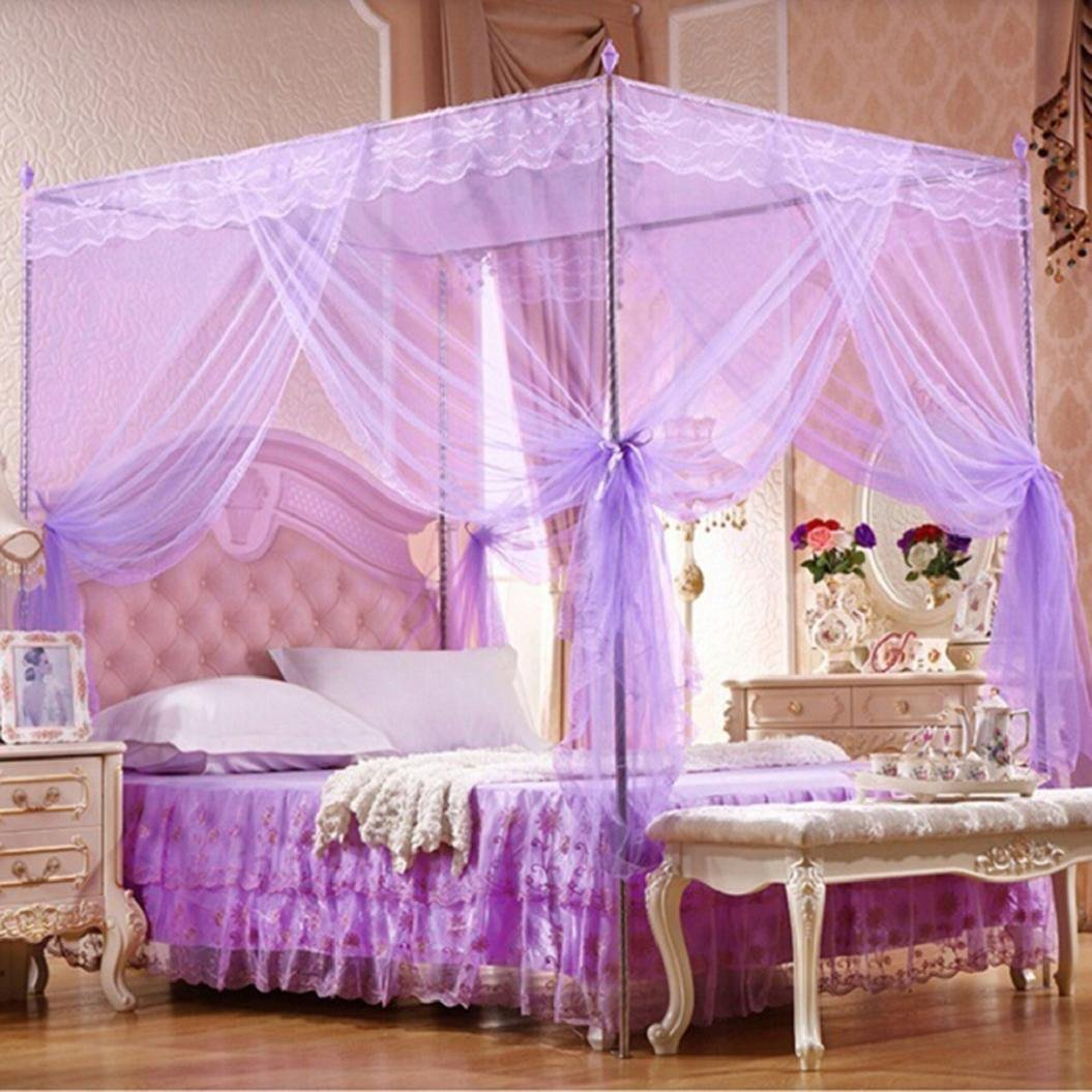 4 Corner Post Bed Canopy Mosquito Net Full Queen King Size Netting Bedding JL