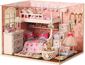 Pacific Toys Wooden DIY Little Princess Miniature Doll House with Lights, Pink