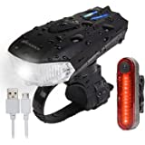 AMANKA Luces Bicicleta USB Super Brillante Impermeable LED Bicicleta Set de Luces Bici 400 Lúmenes Sensor Inteligente para Bi