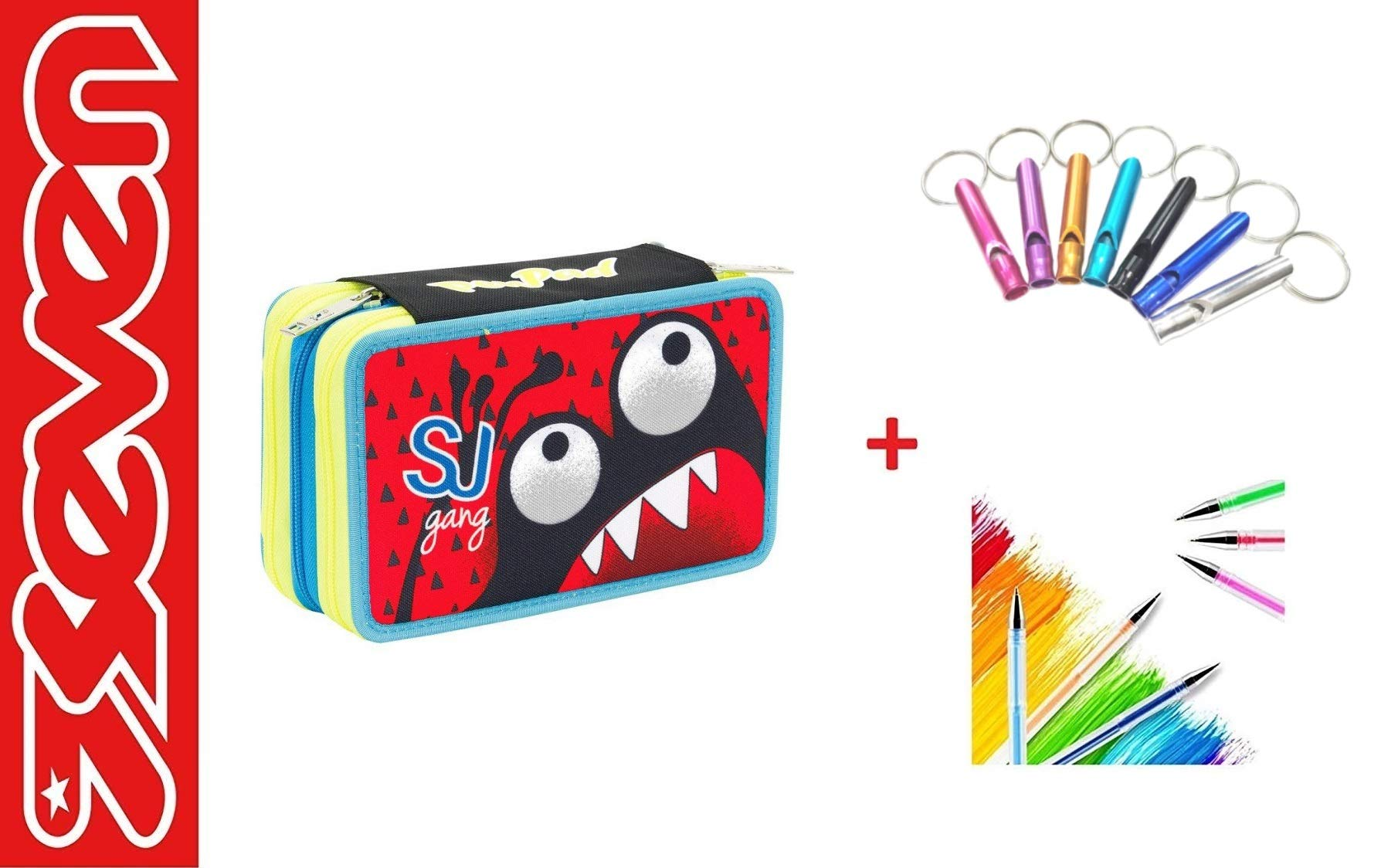 Estuche Seven SJ Gang Boy para niño con dientes rojos, para la escuela, 3 pisos, incluye llavero silbato y bolígrafo de colores