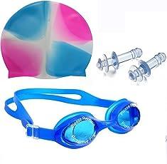 Bloomun Swimming Goggles, Cap & Ear Plug Combo