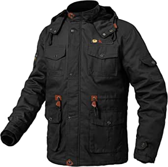 donhobo Mens Parka Winter Jacket with Faux Fur Lined Warm Padded Coat with Detachable Hood