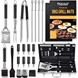 POLIGO 23pcs BBQ Accessories Stainless Steel Barbecue Tools Set with BBQ Grill Mats - Outdoor Barbecue Grill Utensils Set wit