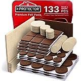 X-PROTECTOR Almohadillas de fieltro para muebles, 133 piezas, color marrón 106 + beige, 27 tamaños diferentes, los mejores pr