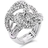 Lavencious 2 Circles Linked Design with Crystals Stretch Rings Statement Rings Free Size for Women