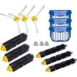Honfa Kit d'accessoires pour iRobot Roomba série 600 671 620 630 650 660 680 690 691 Pièces de rechange Filtres Poils Brosses et Brosses latérales à 3 bras & Brosses souples