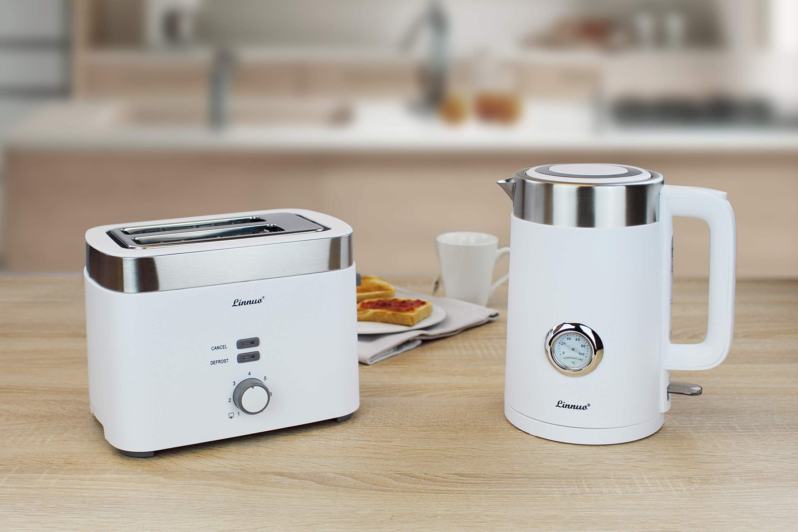 Linnuo-Toaster-Automatik-Doppelschlitz-7-Brunungsstufen-900-W-Krmelschublade-AuftauDefrost-Funktion-EdelstahWei
