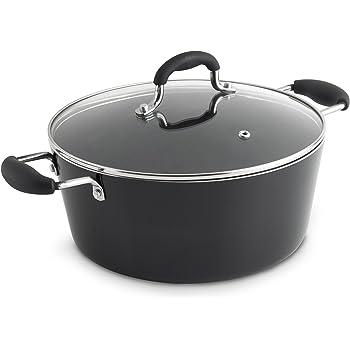 31c8435e VonShef Non-Stick Casserole/Stock Pot – 24cm Black 3.8L / Aluminium Dish  with Glass Lid & Double Silicone Handles