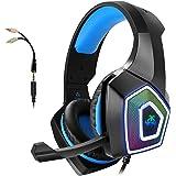 Casque Gamer, Casque Gaming Ps4 PC avec Micro Anti Bruit, 3D Stéréo Surround son 7 RGB lumière LED, Casque Xbox One avec Cach